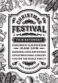 Vintage Christmas Festival Poster Black And White