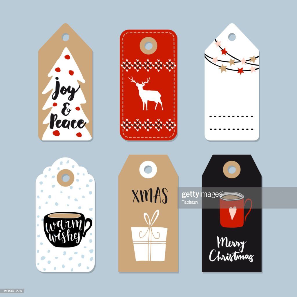 Vintage Christmas gift tags set. Hand drawn labels. Isolated vectors.