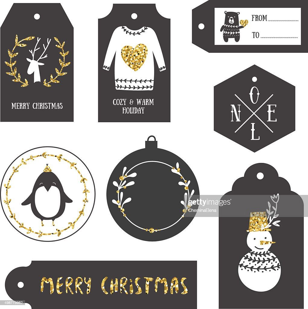 Vintage Christmas Gift Tags Vector Art | Getty Images