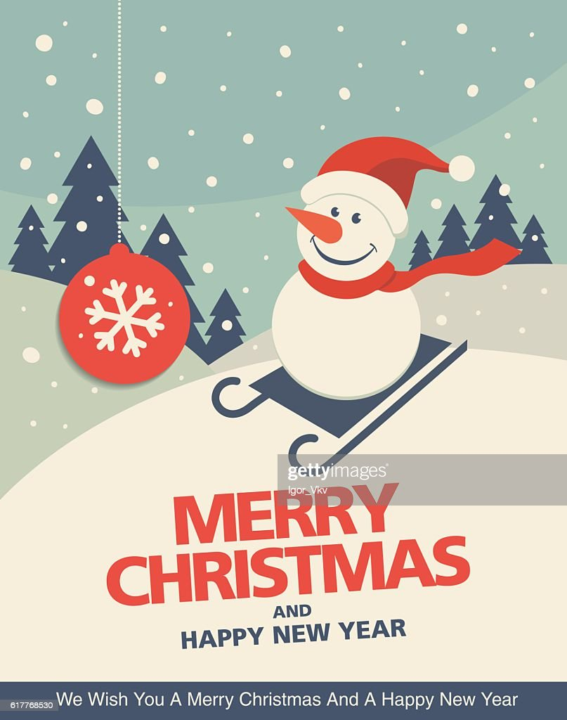 Vintage Christmas Greeting Card Design With Snowman In A Sledge