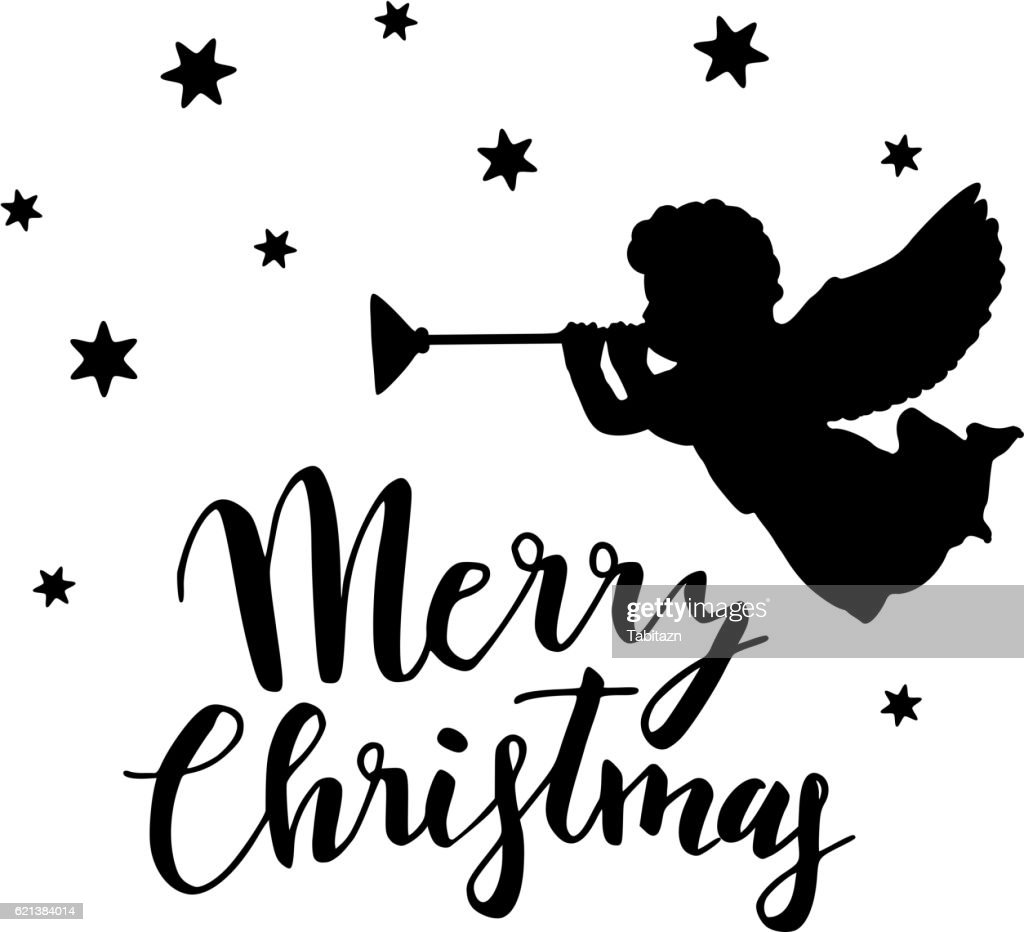 Vintage Christmas greeting card. Silhouette of angel, trumpet and stars.