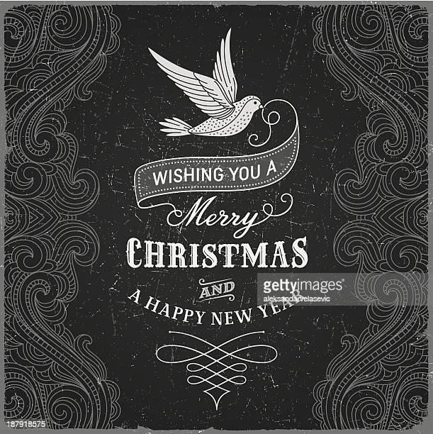 vintage christmas greeting - elegance stock illustrations, clip art, cartoons, & icons