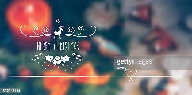 vintage christmas line art abel on  blurred christmas background