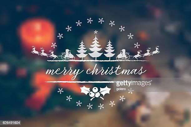 vintage christmas line illustration on blurred festive background