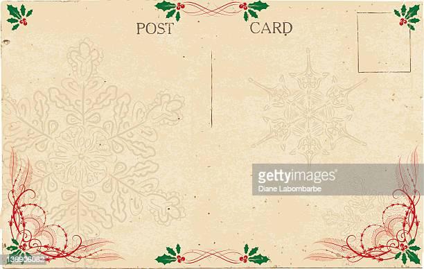 vintage christmas postcard - postcard stock illustrations, clip art, cartoons, & icons