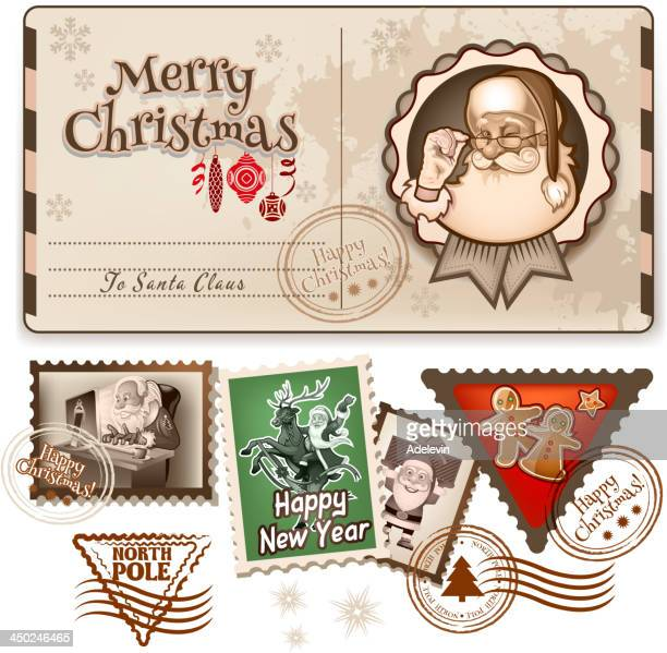 ilustraciones, imágenes clip art, dibujos animados e iconos de stock de navidad vintage postal - señal mensaje