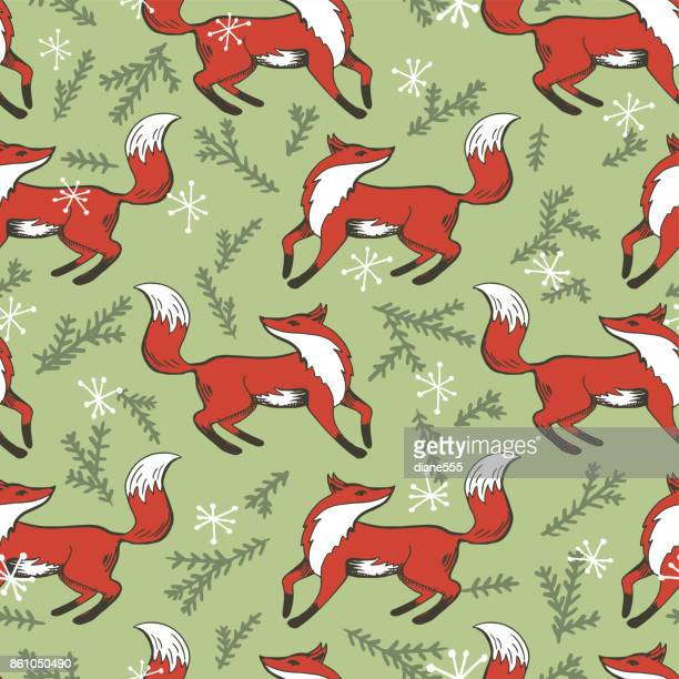 vintage christmas seamless repeating pattern. hand drawn fox - fox stock illustrations, clip art, cartoons, & icons