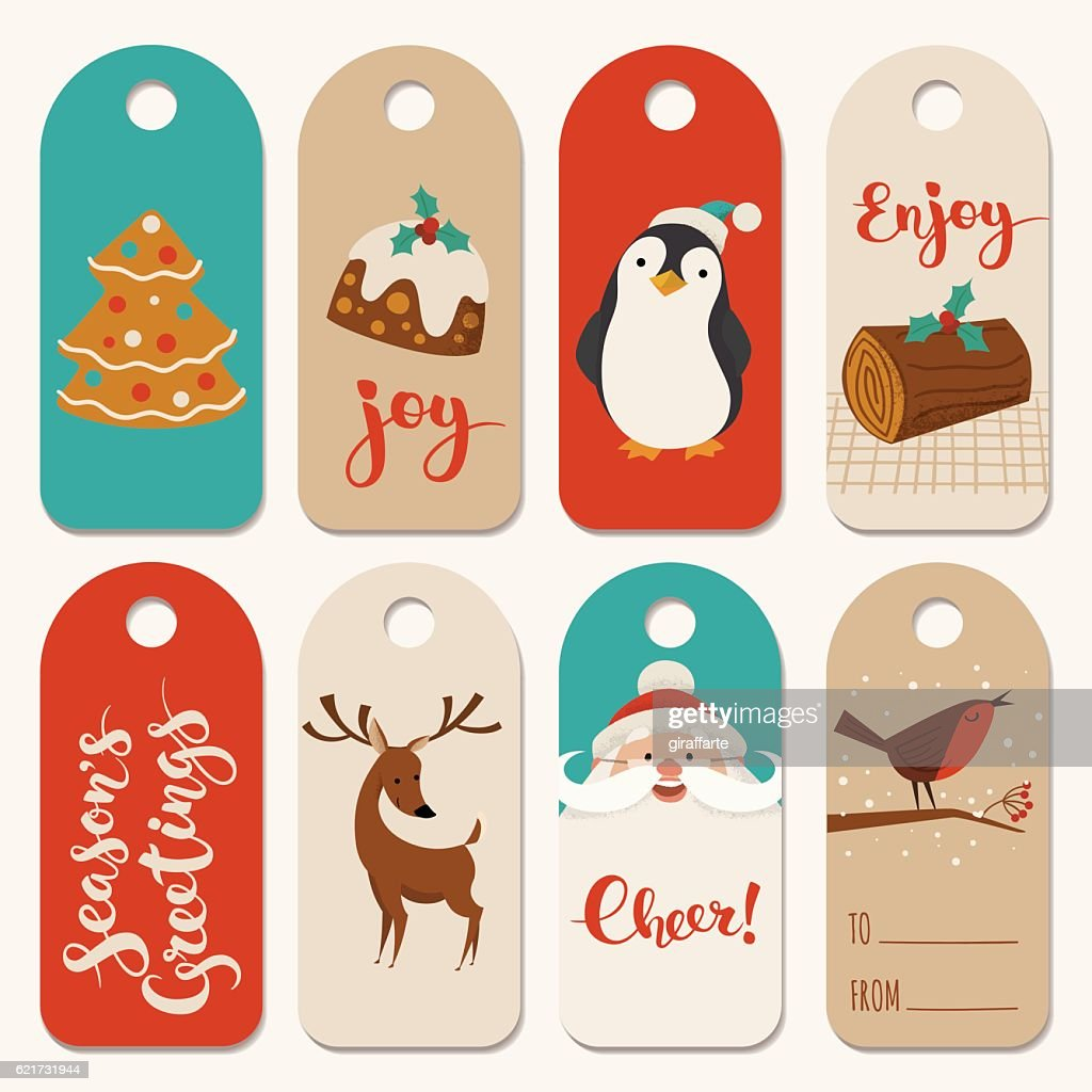 Vintage Christmas tags designs with funny animals and Christmas symbols.