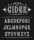 Vintage cider label font for design in vintage style. Vector typeface for labels and any type designs
