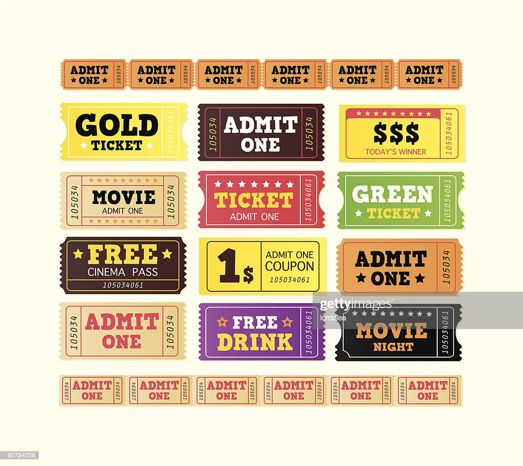 Vintage cinema movie tickets. BIG COLLECTION ( vector )