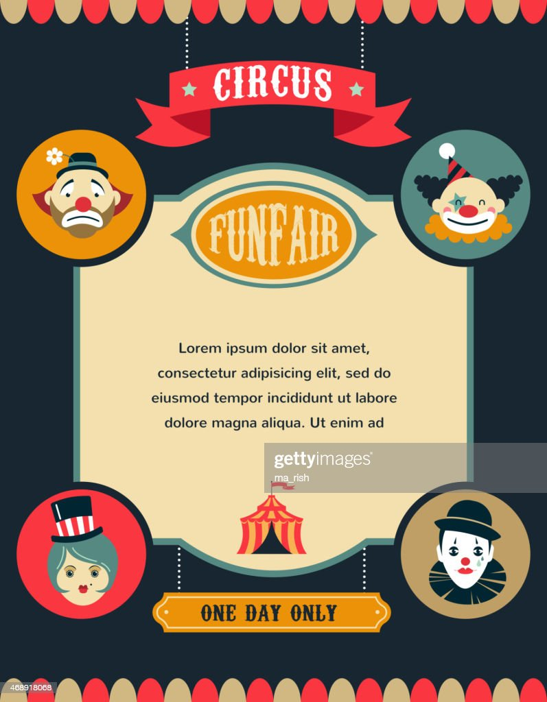vintage circus poster, background with carnival, fun fair, and vector