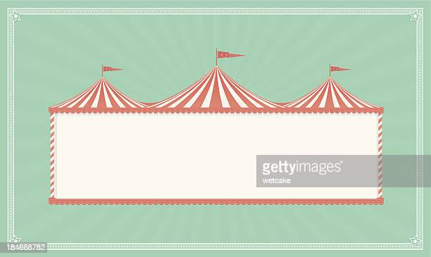ilustraciones, imágenes clip art, dibujos animados e iconos de stock de cartel vintage de circo - carpa de circo