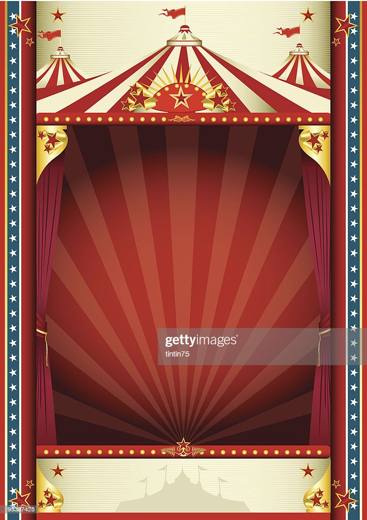 Vintage Circus Stage Tent Illustration Background Vector Art