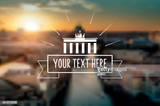 vintage classic berlin sign on blurred sunset panorama - brandenburg gate stock illustrations, clip art, cartoons, & icons