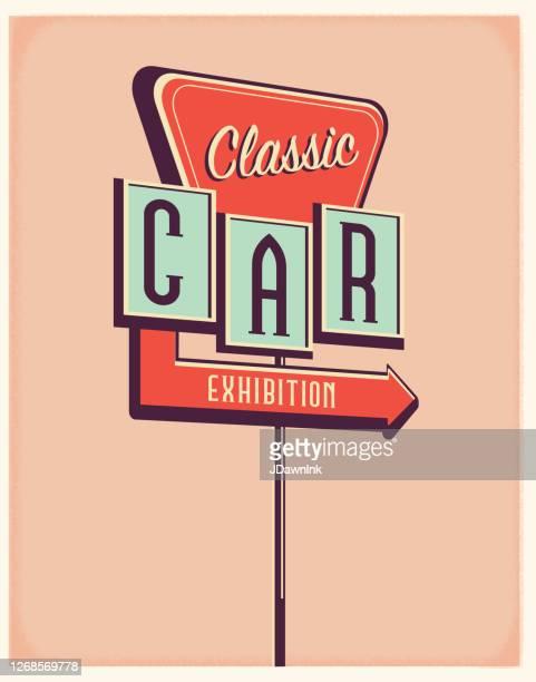 vintage classic car exhibition sign poster design - car show stock illustrations
