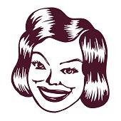 Vintage Clipart: Smiling retro lady