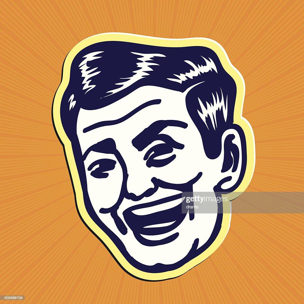 Vintage Clipart: Smiling retro man