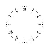 Vintage clock face with Roman numbers. Dots mark minutes and hours. Simple flat vector illustration