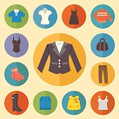 Vintage clothes Icons Flat style. Vector illustration