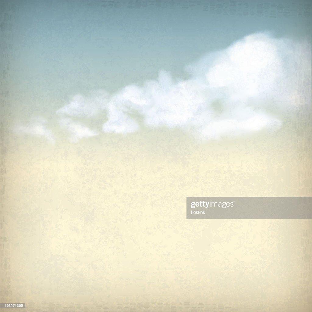 Vintage clouds illustration on subtle texture