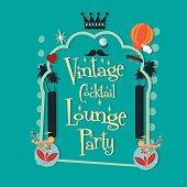 vintage cocktail bar illustration card