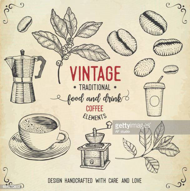 vintage coffee icons - coffee stock illustrations