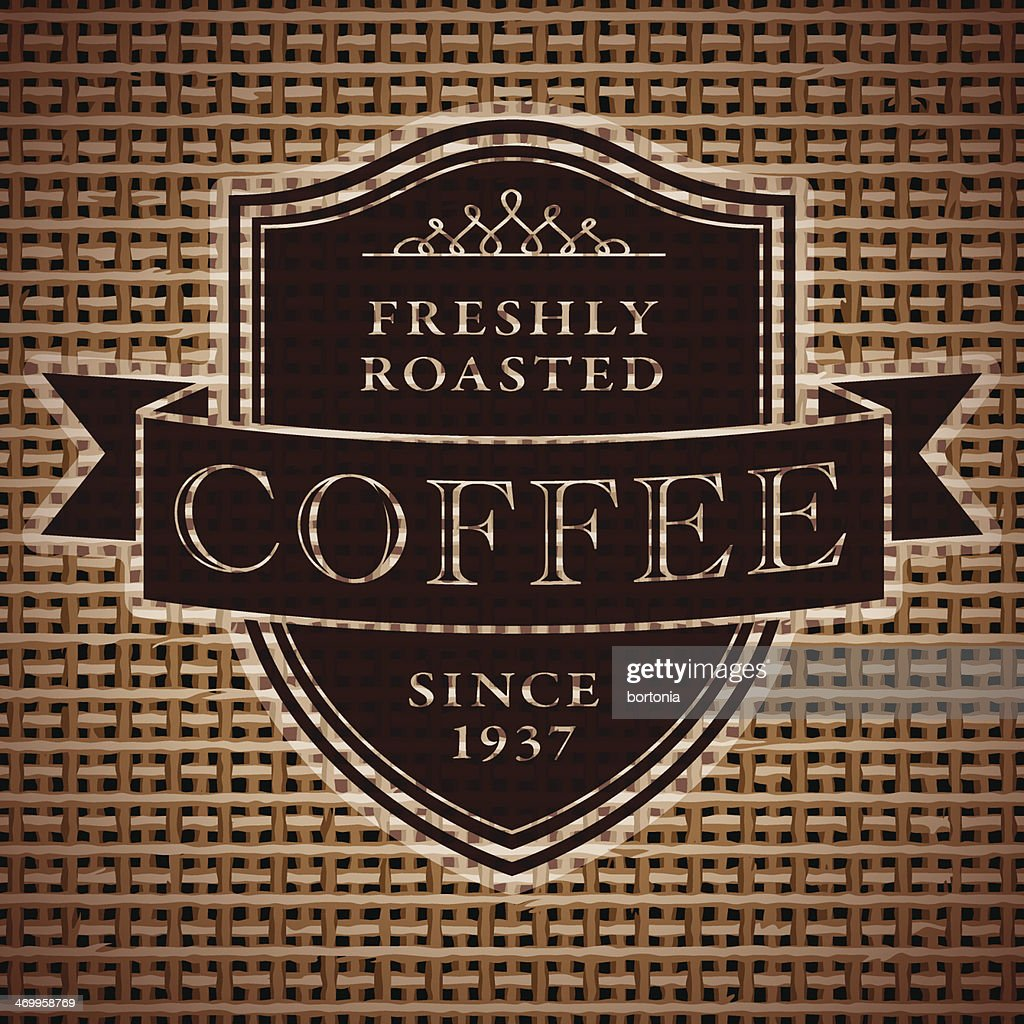 Vintage Coffee Label on Burlap