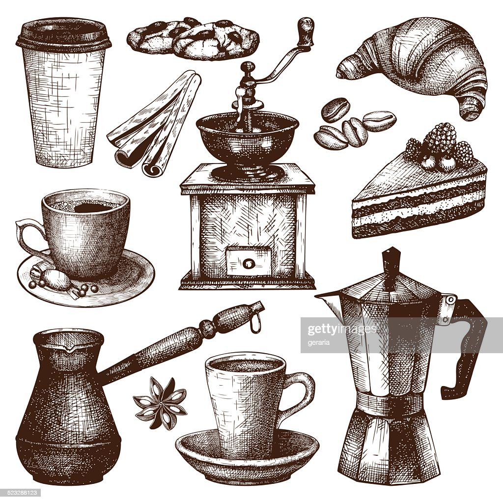 Vintage coffee, pastry and spice illustration