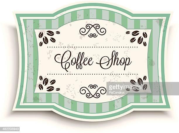 vintage coffee shop banner - embellishment stock illustrations