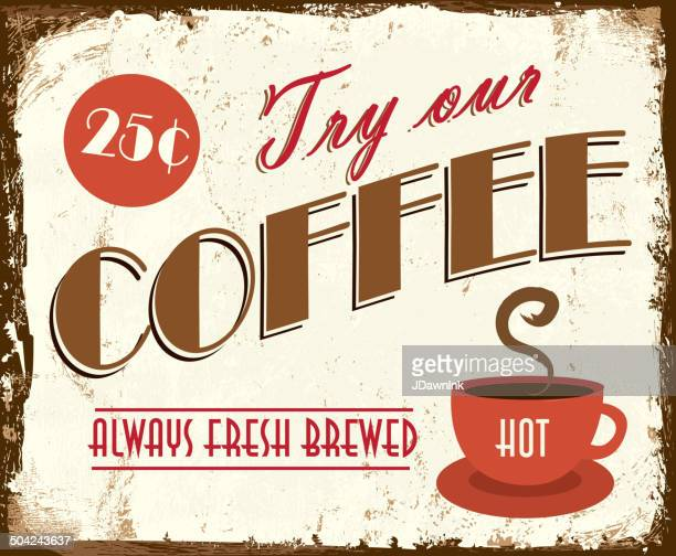 vintage coffee tin sign lot's of texture and wear - hot drink stock illustrations, clip art, cartoons, & icons