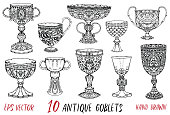 Vintage collection with ten antique goblets