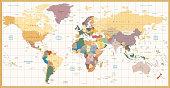 Vintage color political World Map