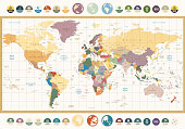 Vintage color political World Map with round flat icons