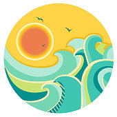 Vintage color seascape with sun on round symbol