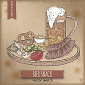 Vintage color template with hand drawn beer mug and snack plate.