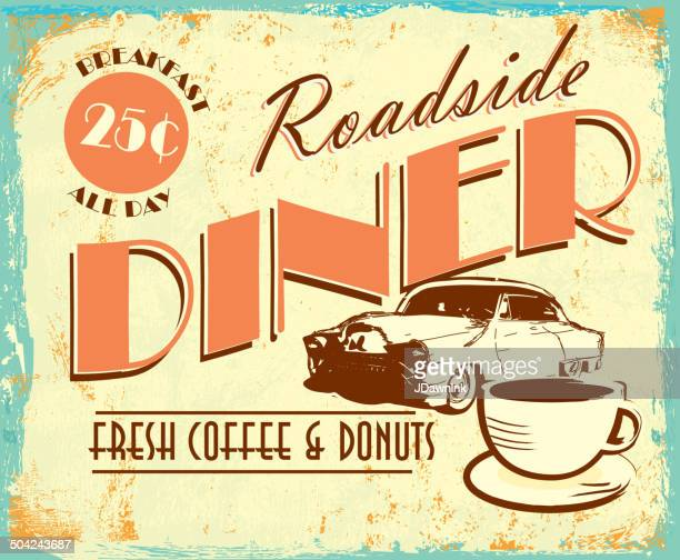 Vintage colorful Roadside diner with classic car coffee tin advertisement