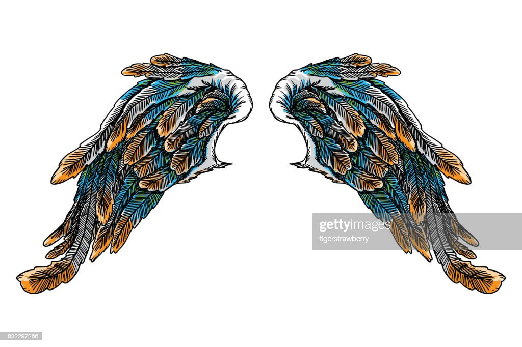 Vintage colourful wings isolated on white background. Design elements for hipster tattoo or vintage body art concept, label, emblem, sign, brand mark, poster, print for t-shirt, smart phone. Vector.