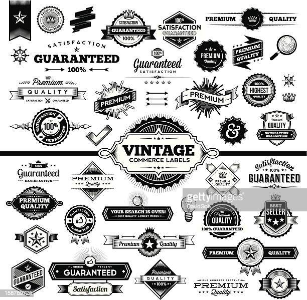 ilustrações, clipart, desenhos animados e ícones de etiquetas vintage-conjunto completo de comércio - fora de moda estilo
