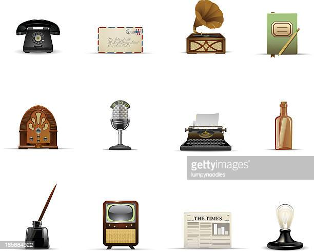 vintage communication and media - microphone stand stock illustrations