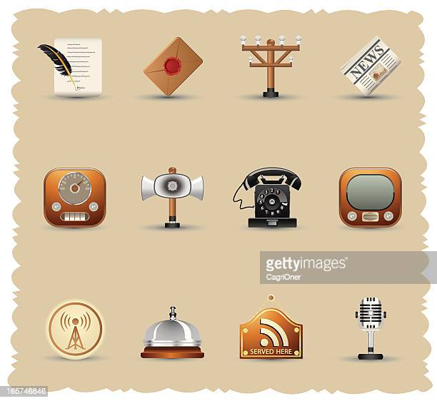 vintage communications icon set - podcasting stock illustrations, clip art, cartoons, & icons