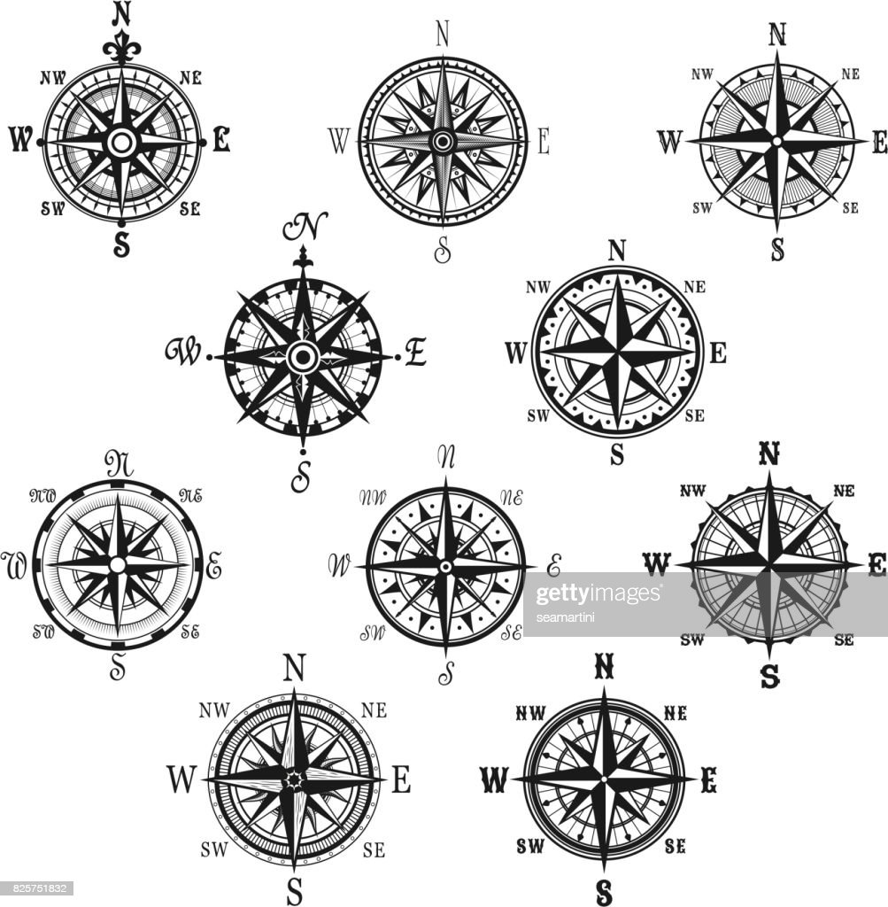 Vintage compass and wind rose isolated symbol set