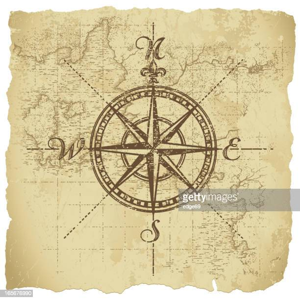 vintage compass - antique stock illustrations, clip art, cartoons, & icons