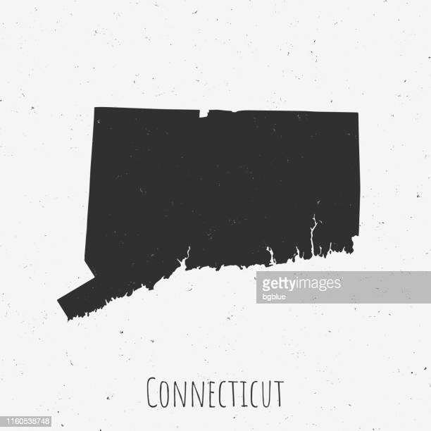 Vintage Connecticut map with retro style, on dusty white background