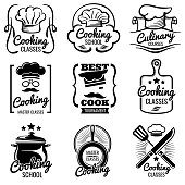 Vintage cooking in kitchen classes vector silhouette labels. Cook workshop emblems. Gourmet icons