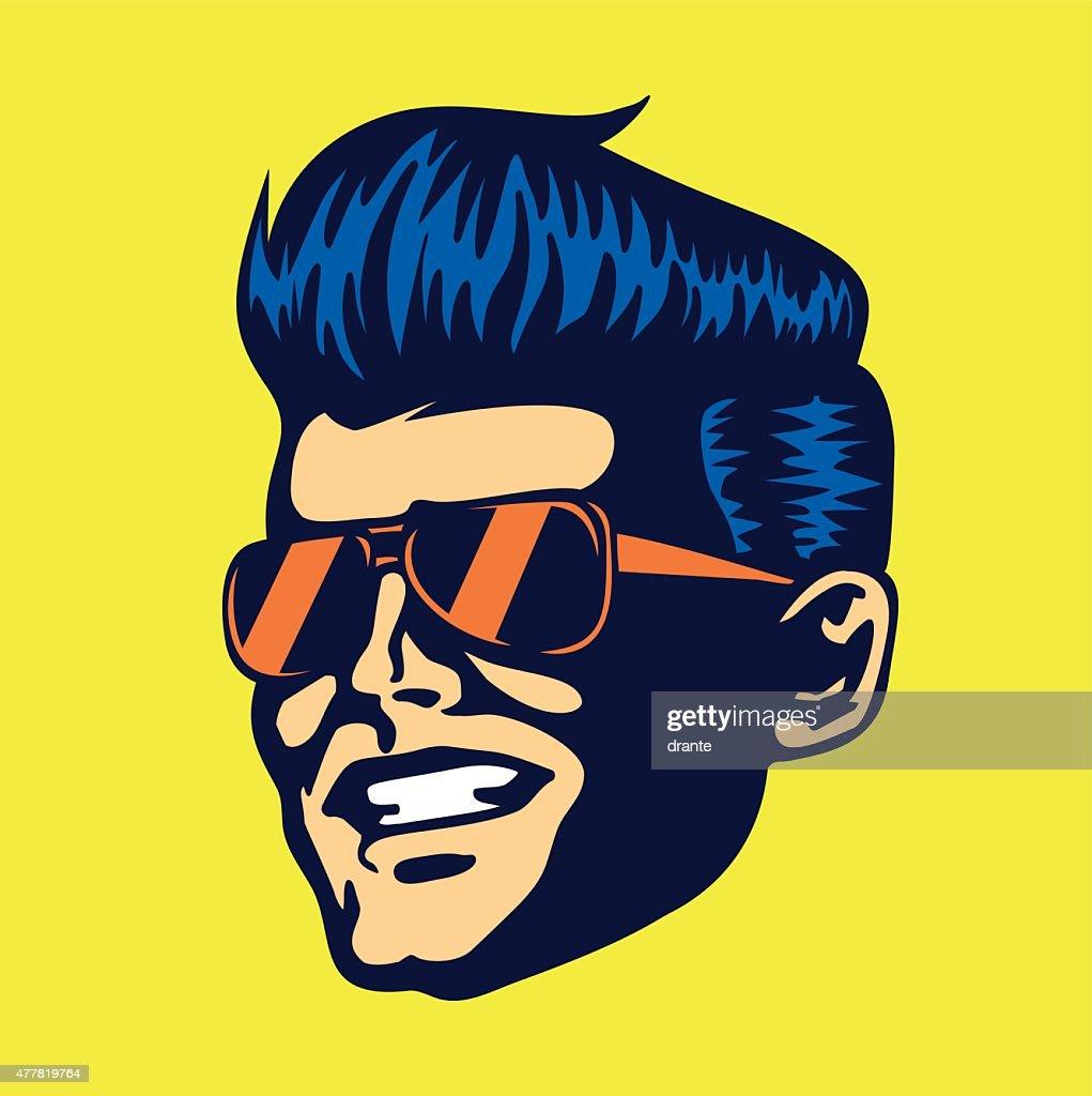 Vintage cool dude man face aviator sunglasses rockabilly haircut