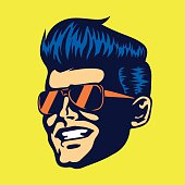 Vintage cool dude man face aviator sunglasses rockabilly haircut