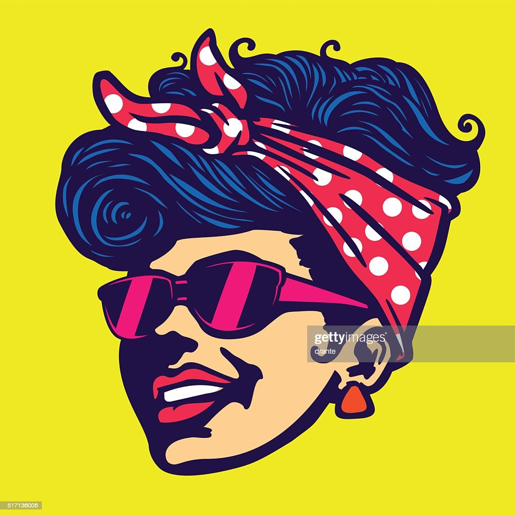 Vintage cool rockabilly hairstyle girl face with sunglasses vector illustration