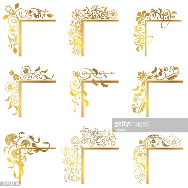 vintage corner frame border flourish - luxury stock illustrations
