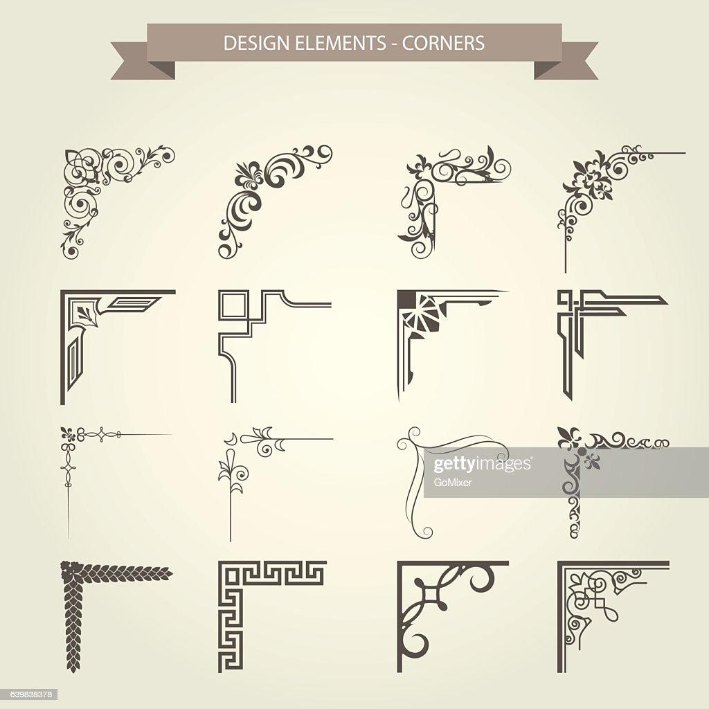 Vintage corner vignettes set - frame border flourish pattern