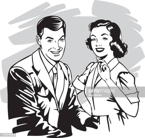 vintage couple - mid adult stock illustrations